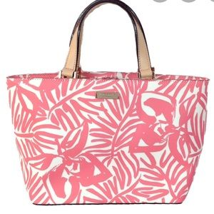 KATE SPADE GRANT ST TROPICAL PALM JUNO SMALL TOTE